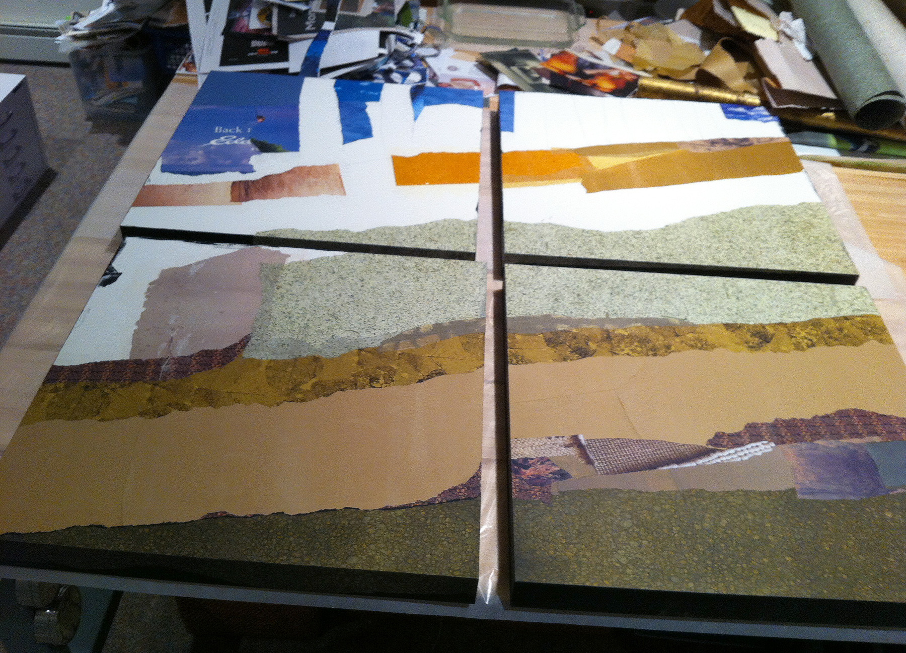 Rooted Together: work in progress on collage commission, approx. 4 x 4.'