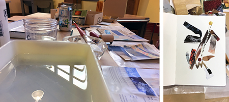 """Work table at the Art Gym and one of my sketchbook collages ~ 12 x 9."""""""