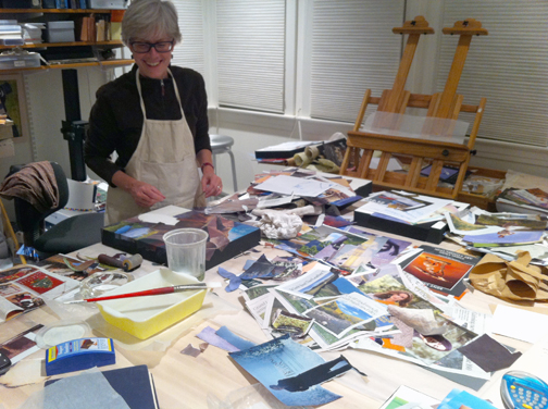 Collage work in progress… the usual paper mayhem ensues!