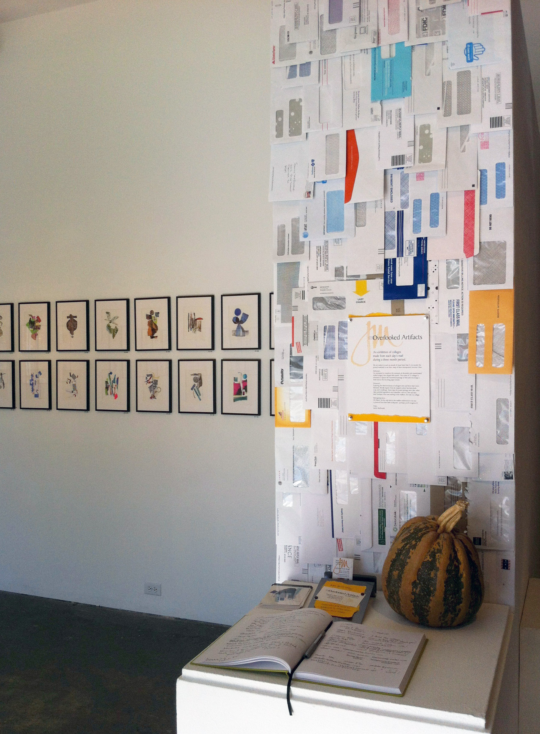 The wall of envelopes in context at Spark Gallery.