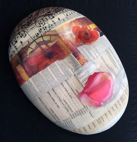"""Final mask for Denver Hospice's The Mask Project, """"Foundling,"""" by Janice McDonald."""