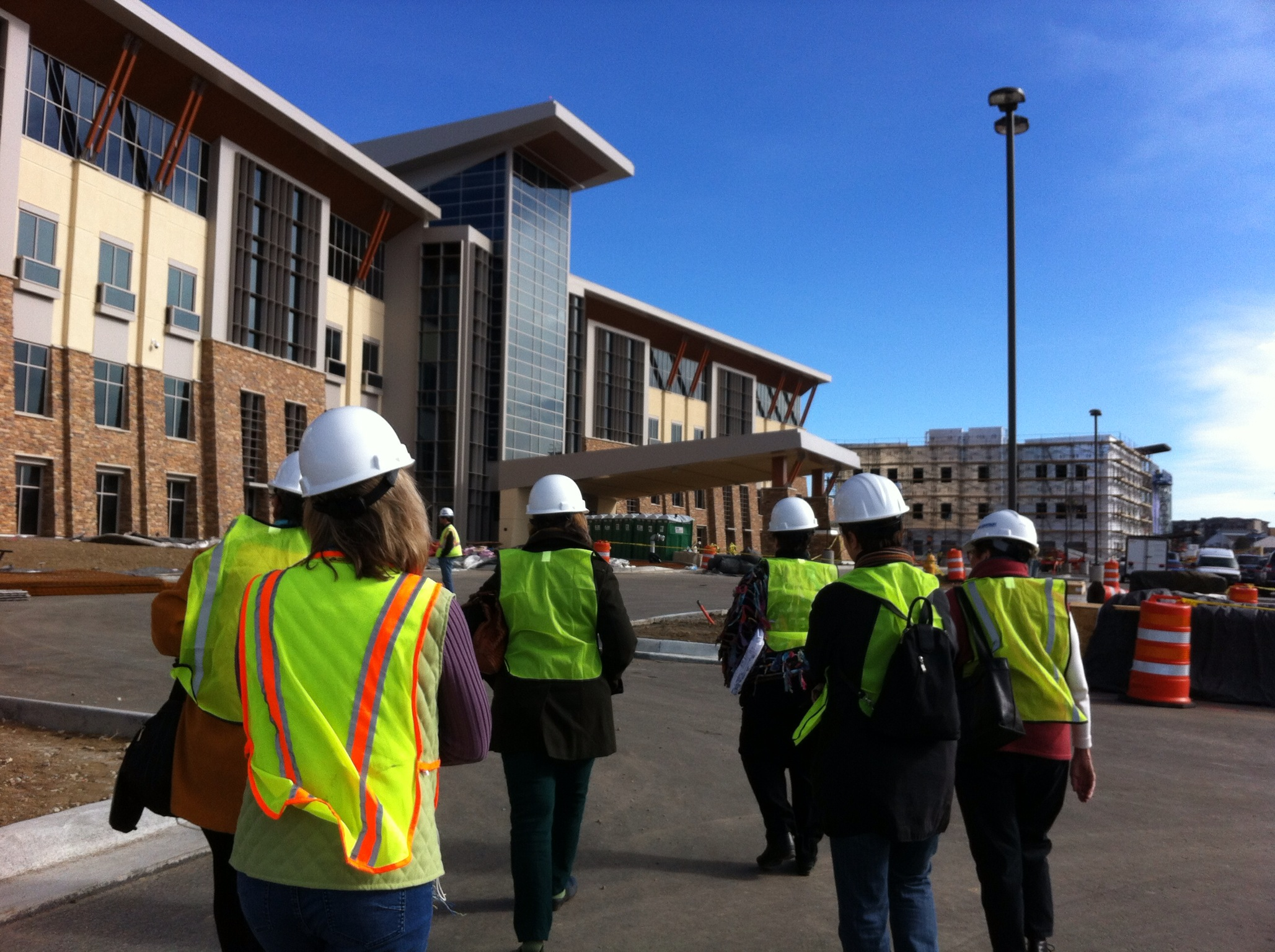 Hardhat tour of hospital building under construction