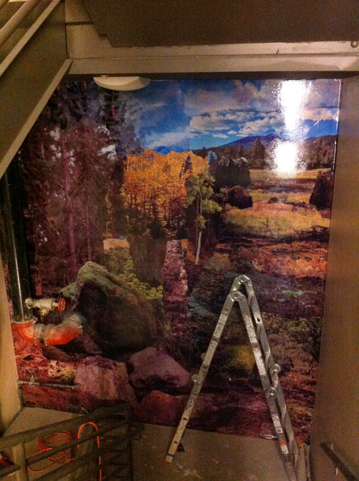 Installation of level two collage enlargement in stairwell.