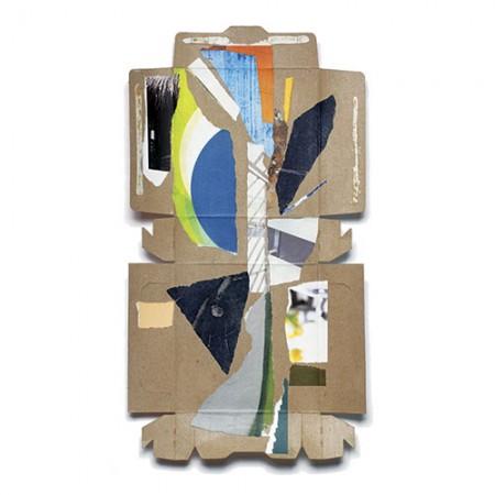"""Unboxed 003,"" 17 x 9"" collage on granola bar box. © 2015, Janice McDonald."
