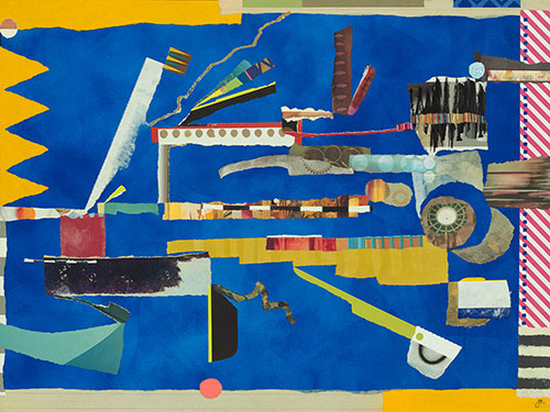 """One of my contributions... """"Mapped,"""" 18 x 24″ collage with acrylic on wood panel."""