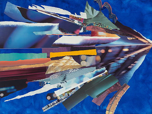 """""""Speed,"""" by Janice McDonald, 18 x 24"""" collage with acrylic background on wood panel."""