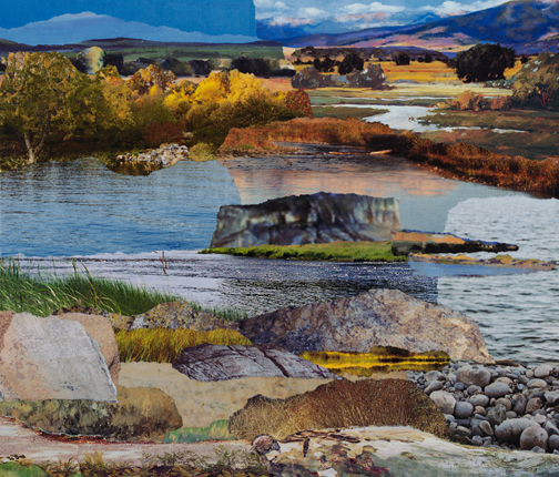 """Streamside,"" original collage on wood panel, 12 x 12."" ©2013, Janice McDonald."