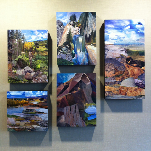 Composed Landscapes… five original collages by Janice McDonald in the IMA boardroom.