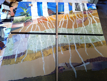Adding the root structure and bridging the pattern across panels.