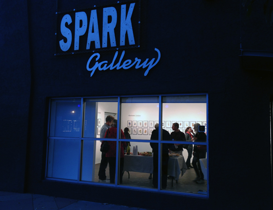 Spark Gallery, view from outside looking in.