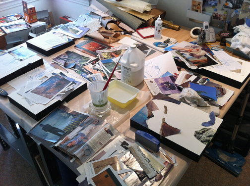 "Here I'm working mostly on the ""above treeline"" collage but sifting colors into piles for potential use in other pieces."