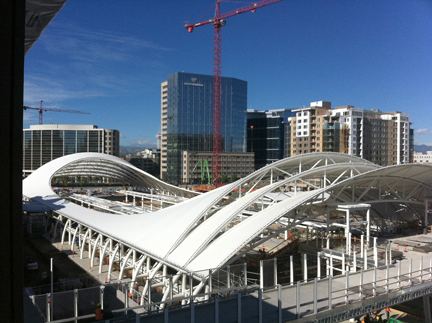 View of new transit center from building, looking northwest.