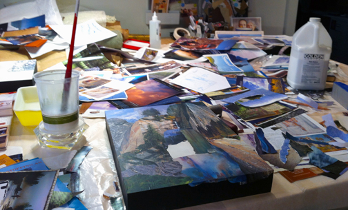 Work in progress on the waterfall collage to be enlarged for level three of the stairwell.