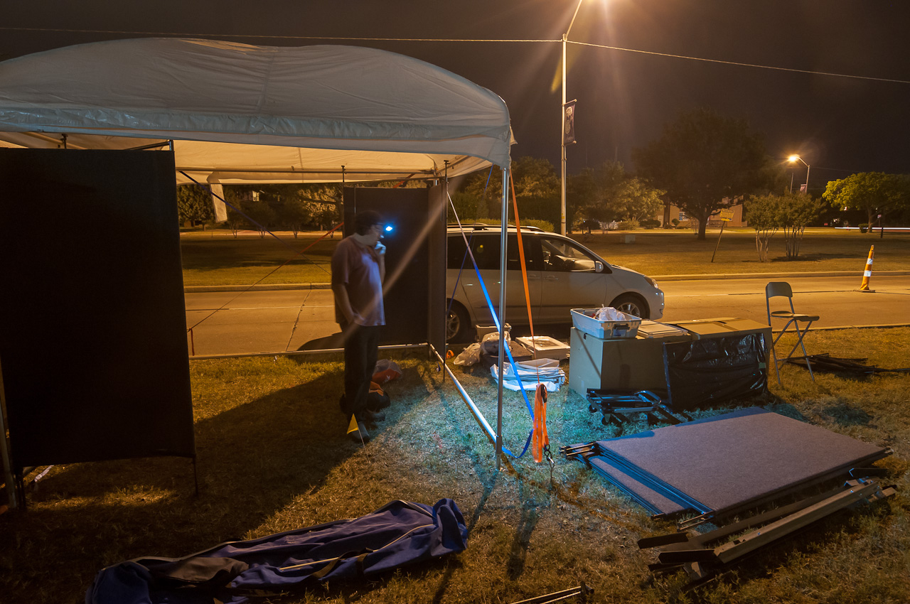 Setting up at Midnight -- Lawton in 2012