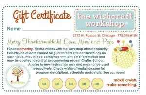 Wishcraft Workshop Gift Certificate for art class, sewing lessons, summer camps, craft workshops