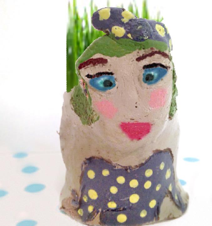 clay face grass planter
