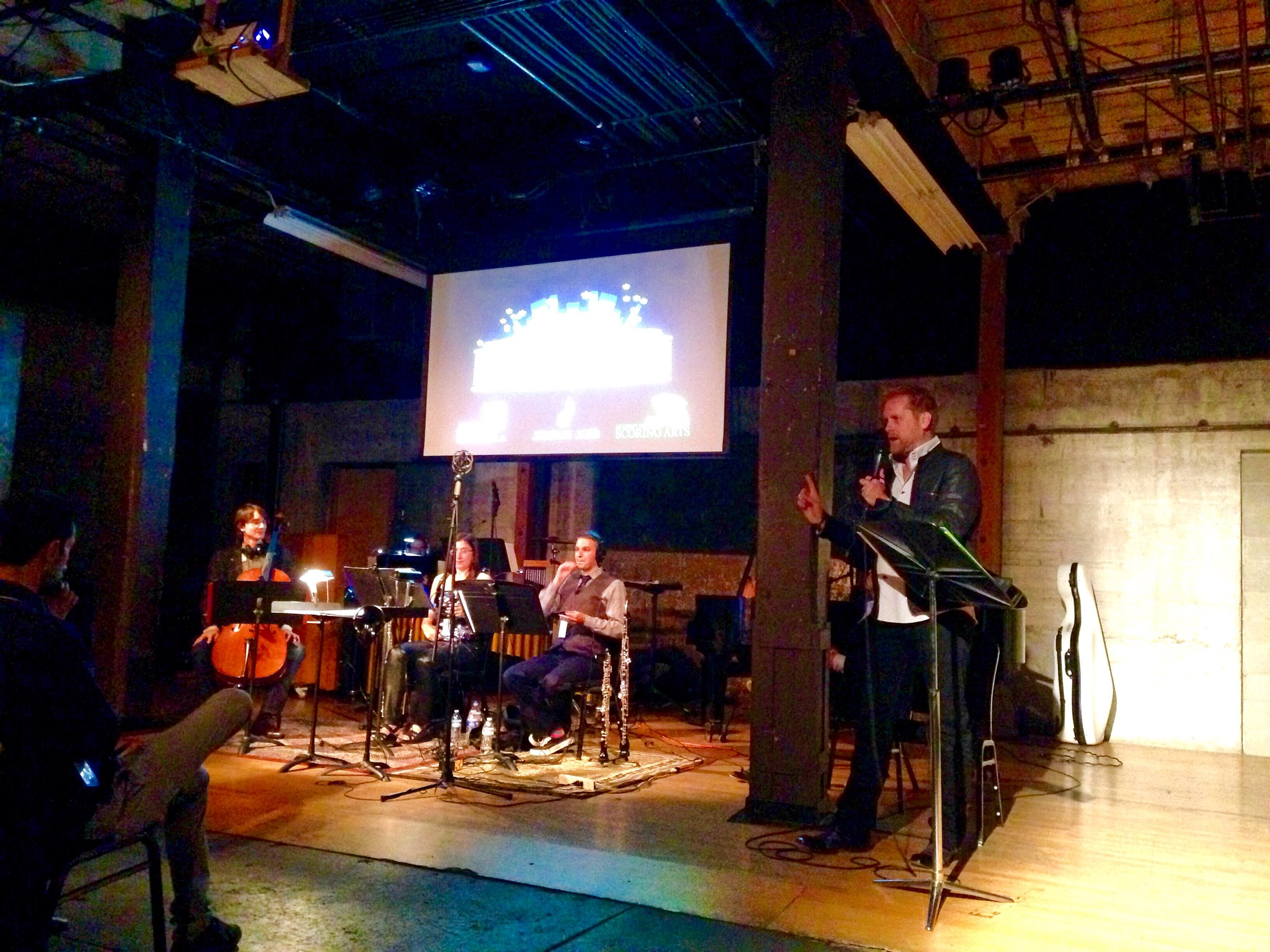 Brian Ralston, host, welcoming the audience to the 2016 Los Angeles Live Score Film Festival at ArtShare LA on April 30, 2016.