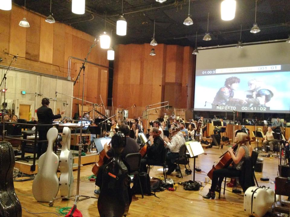 Nicolas and the 64-piece orchestra at the Newman Scoring Stage at Fox Studios.