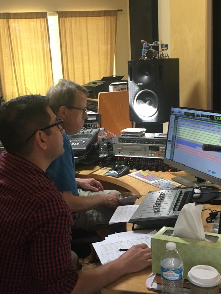 Les Brockmann and Nicolas Repetto at The Plural of Blood recording session. Riot Drum Studios, June 13, 2017