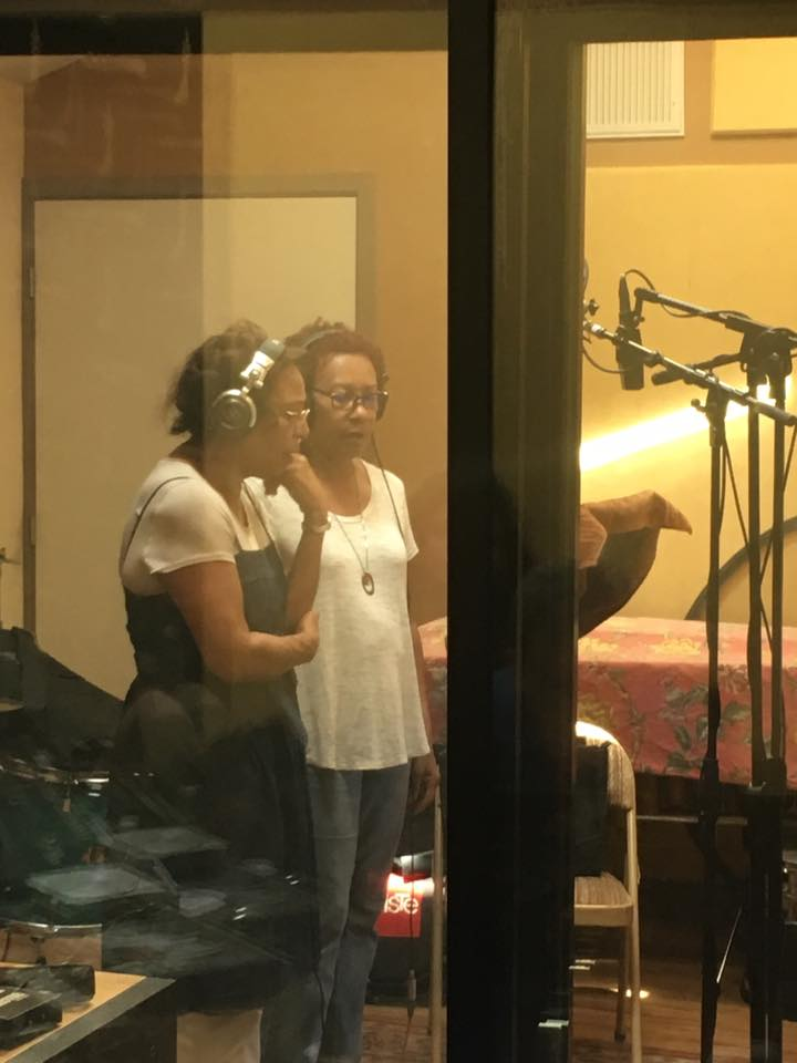 Aleta Braxton and Clyden Jackson at The Plural of Blood recording session. Riot Drum Studios, June 13, 2017