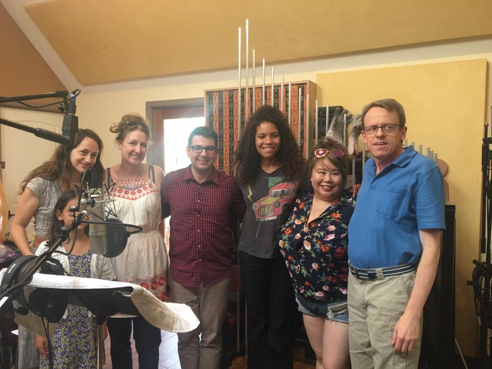 Dalia, Ayana, Mary-Lyn, Nicolas, Monica, Roxy and Les at The Plural of Blood recording session. Riot Drum Studios, June 13, 2017