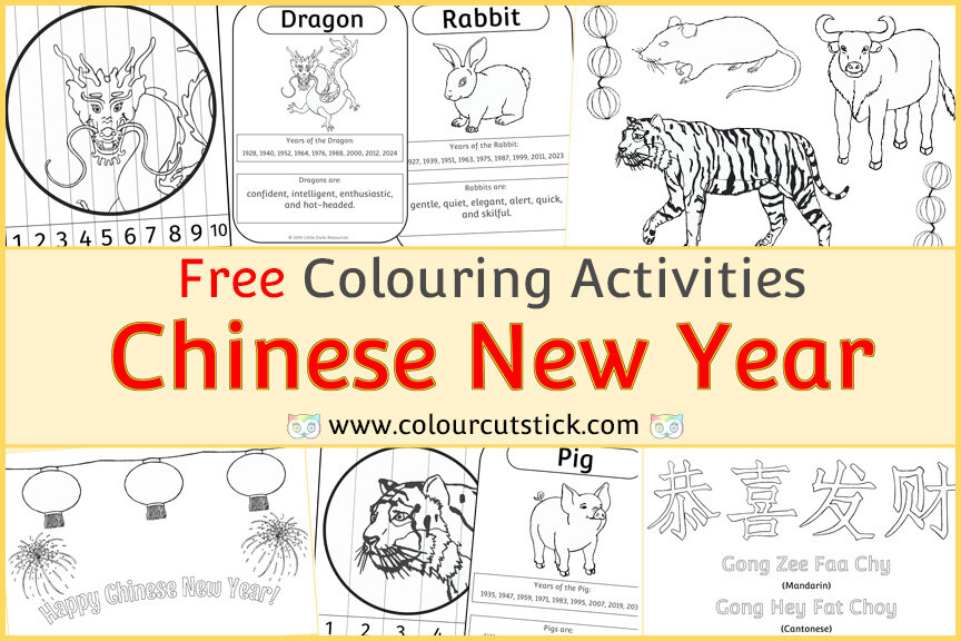 Free Chinese New Year Colouring Coloring Pages For Children Toddlers Preschool Early Years Colour Cut Stick Free Colouring Activities