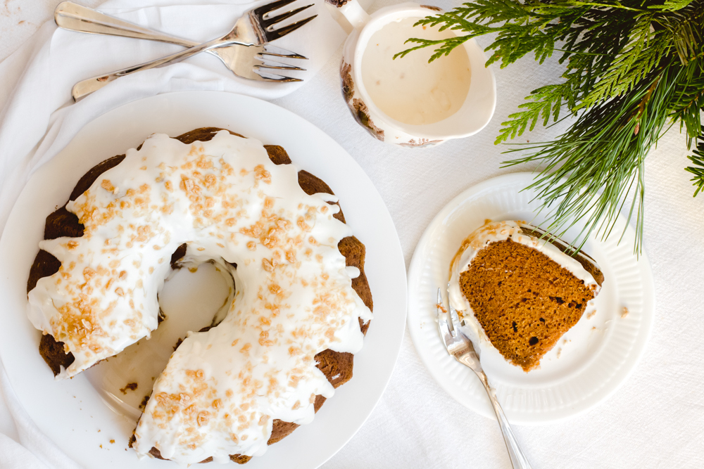 Pumpkin Bundt Cake with Maple Sour Cream Icing - Marisa Curatolo