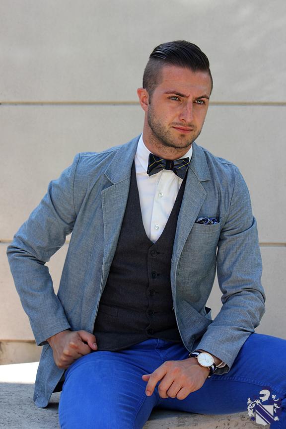 canadian tuxedo Chambray blazer