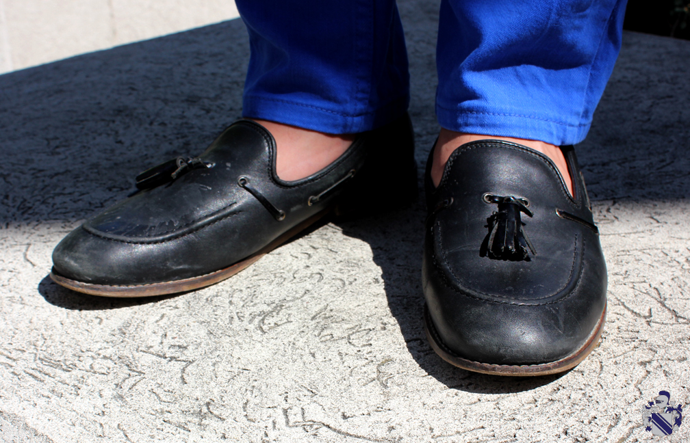 canadian tuxedo Black loafers