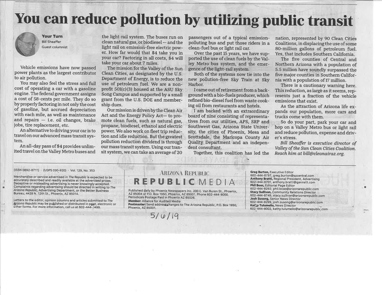 Arizona Republic Article 5/6/19 — Valley of the Sun Clean Cities