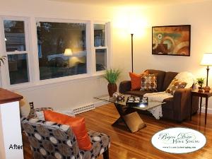 Brockton, MA living room after staging