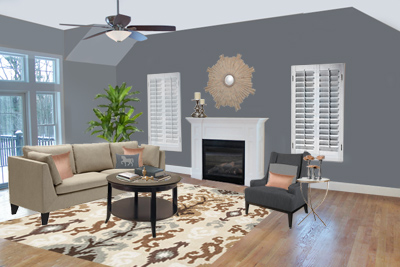 living room with gray walls and ikat area rug