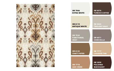 ikat area rug and neutral paint colors