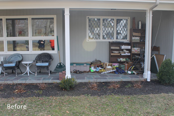 cluttered porch