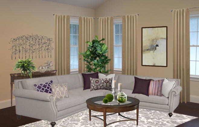 living room with beige walls