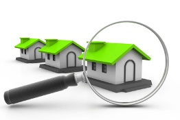 illustration of magnifying glass in front of a house