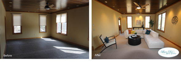 living room before and after home staging