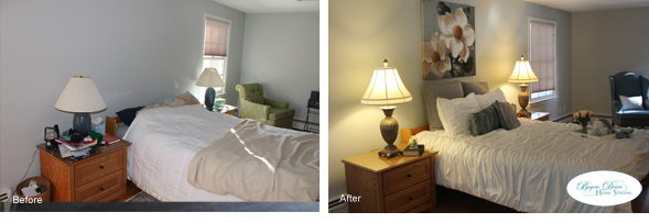 bedroom before and after home staging
