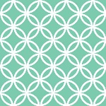 white interlocking circles on an aqua background