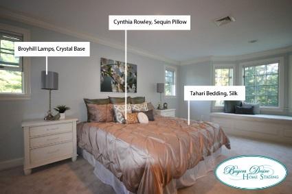 bedroom with designer items