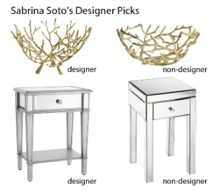 similar designer and non-designer bowls and tables