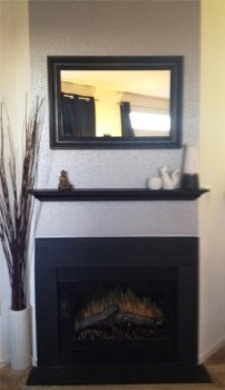 fireplace wall with wallpaper