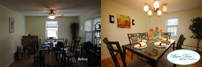 In this example, the ceiling fan was replaced with a contemporary chandelier that was in another room of the home. It brightened up the space and made the dining room look more formal as well as updated.