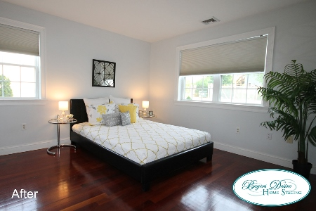 gray bedroom after staging