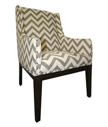 chair with gray and white cheveron upholstery