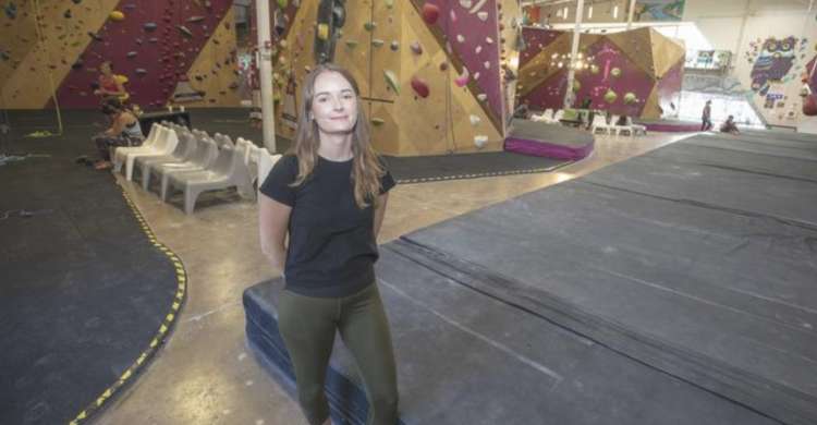 Grace Nicholas, COO of Crux Climbing Center. Photo credit Arnold Wells / Austin Business Journal