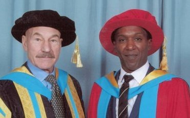 cropped Lemn and Chancellor of The University of Huddersfield Patrick Stewart