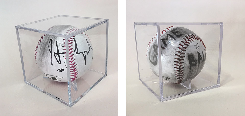 Memorabilia (game ball), charcoal on baseball in UV protective display case, Edition of 3 with 2 APs.