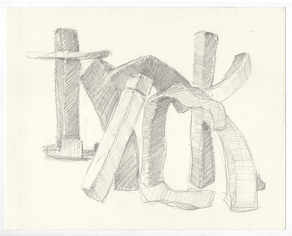 """Trick"" graphite on paper, 10"" x 8"""