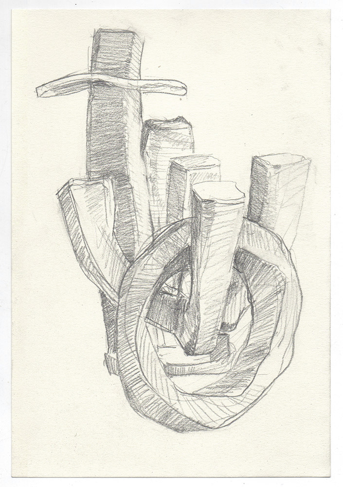 """""""two"""" graphite on paper, 6"""" x 8"""""""
